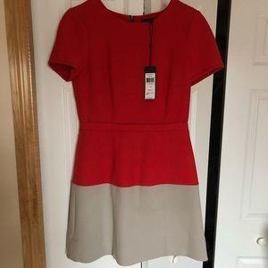 BCBG orange and tan dress, size 8